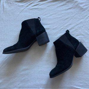 Nine West black suede ankle block heel booties